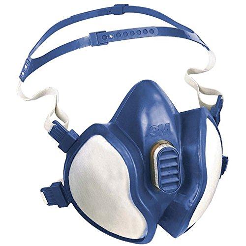 3M série 4000 - Demi-masque de protection réutilisable 3M 4255 - Filtres intégrés pour une protection contre vapeurs et particules - 1 x masque bleu/blanc