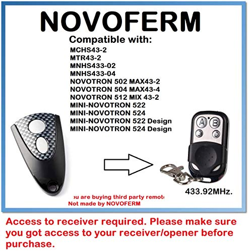 504 MAX43-4 Compatible télécommande avec Novoferm novotron 502 MAX43-2