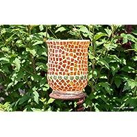 Windlicht orange mit grünen Herzen 15 cm hoch - handgemacht