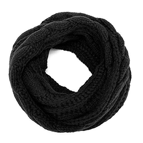 Indeedshare Damen dicker gerippter Strick Winter Infinity Circle Loop Schal (schwarz)