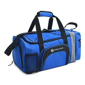 """VERGLEICHSSIEGER: Premium Sporttasche """"Sporty Bag"""" von Sportastisch :: Farbe: BLAU ::mit Schuhfach, Tragegurt und Trinkflaschen-Halter :: hochwertiges Nylon garantiert beste Atmungsfähigkeit :: Exklusives Design für Damen, Herren und Kinder:: extra groß mit 35L Fassungsvermögen :: lange Lebensdauer dank hochwertiger Verarbeitung :: Ideal als Sporttasche, Fitnesstasche und Reisetasche :: 3 Jahre Premium Sportastisch Garantie"""