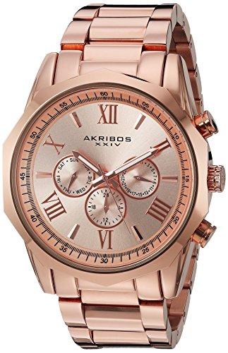 Akribos XXIV da uomo in oro rosa con orologio al quarzo con Display analogico e braccialetto in acciaio INOX, colore: oro rosa AK940RG
