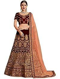 5789deb8899 Ethvilla Women s Embroidered Pure Silk Semi stitched Lehenga choli with  Dupatta (Maroon  Free size