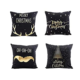 Fossrn Navidad Decoracion – 4PC/Conjunto Fundas Cojines 45×45 Merry Christmas Funda de Cojines para Sofa Jardin Cama Decorativo