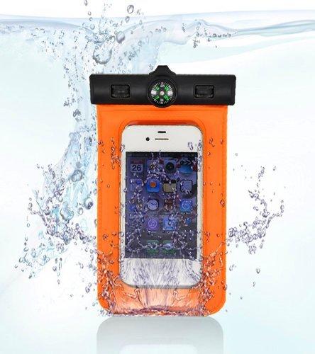 TIODIO® Custodia Impermeabile con Laccio da Collo per Telefoni Cellulari con Funzione Touch Screen Compatibile con Apple iPhone 6, iPhone 6 Plus, Galaxy S6, S6 edge e Altri Smartphone con 4 a 5,5 Sc Arancio