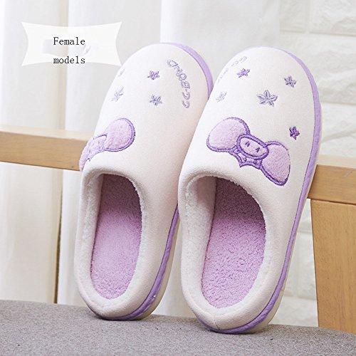 Pantofole coppie Pantofole calde interne in cotone invernale Pacchetto domestico con pantofole Pantofole più spesse 6 colori disponibili Taglia opzionale ( Colore : C , dimensioni : 36/37(35/36) ) C