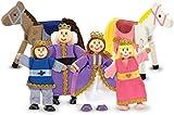 Melissa & Doug Royal Family Wooden Poseable Doll Set for Castle and Dollhouse (6 pcs) - 4 Dolls, 2 Horses (8-10 cm each)