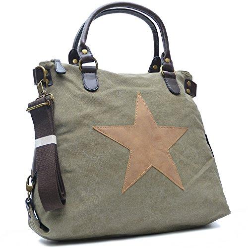 Vain Secrets Sternen Shopper Damen Handtasche mit Schulterriemen Grün AF