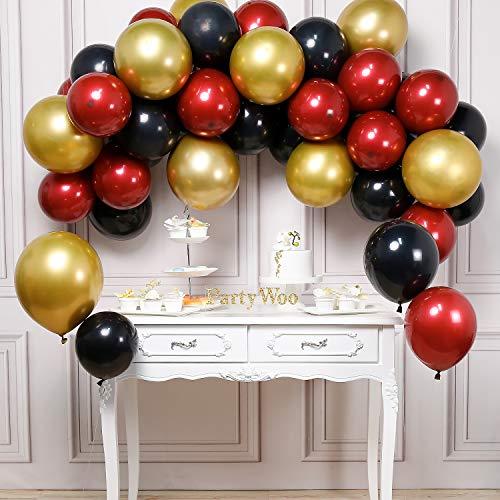 PartyWoo Luftballon Schwarz Rot Gold, 45 Stück Luftballons Satz von Ballons Schwarz, Ballons Weinrot und Ballons Metallic Gold, Luftballons Schwarz Rot Gold für Partydeko Weinrot, Partydeko Rot Gold