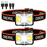 Lampe Frontale Puissante[Lot de 2], OMERIL LED Torch Frontale USB Rechargeable 200 Lumens 5 Modes D'éclairage Lumière Blanche et Rouge, Etanche IPX5 pour Pêche,Camping,Lecture,Randonnée,Cyclisme,etc.