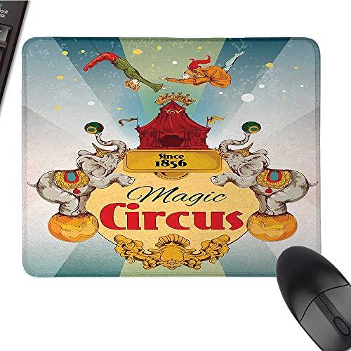 "Mauspad, Motiv Zirkus, groß, Motiv Löwe und Feuerring vor dem Zirkuszelt, Glühbirnen, 25,9 x 30 cm, mehrfarbig 9.8""x11.8"" Color2"