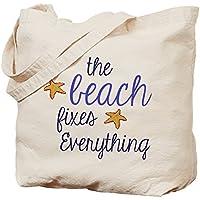 Cafepress–The Beach Fixes everything Tote bag–Borsa di tela naturale, tessuto in iuta