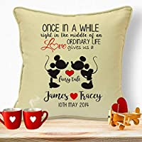 Personalised Gifts For Husband Wife Him Her Girlfriends Boyfriends Wedding Anniversary Valentines Day Birthday Christmas Xmas Romantic Decorations Ideas For Couples Disney Mickey & Minnie Cushion