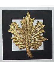 Alokil Art Canada Maple Leaf Wall Art (Brass Wood, 11.5×11.5-inch, Golden Black)