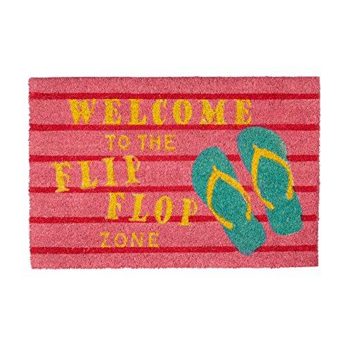 Relaxdays Fußmatte Kokos Spruch Flip Flop Zone 40 x 60 Kokosmatte mit Rutschfester PVC Unterlage Bunte Türmatte Fußabtreter aus...
