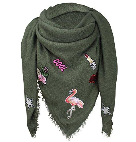 XXL PATCHES STICKER Flamingo Damen Karo Schal Tuch Karoschal Halstuch Fashion Plaid Loop Olivgrün Plaid Fashion Damen Schals