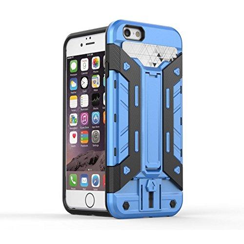 """Iphone 6 Case,Lantier Mech 3 en 1 plastique dur High Impact Hybrid antichoc Deluxe Mode Combo Full corps avec Béquille Housse de protection pour Apple Iphone 6 4.7 """"Red Blue + Black"""