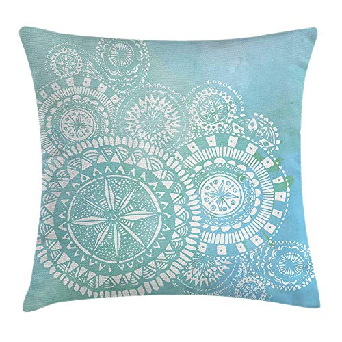 Light Blue Throw Pillow Cushion Cover, Watercolor Brush Strokes with White Hand Drawn Mandala Round Indian Doodle, Decorative Square Accent Pillow Case, 18 X 18 inches, Light Blue White