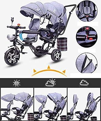 Cochecito de bebé, GUO@ Carrito Doble para niños con Triciclo Doble Doble Asiento Giratorio reclinable 1-7 años de Carro de bebé