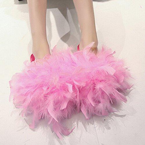Butterme Summer Home Sandales Pantoufles Mode Femmes Casual Flip Flop Autruche Plume Glisser Slip Sur Appartements Chaussures Rose