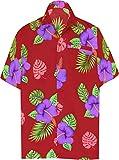 LA LEELA ntage Surf Pulsante Fino Camicie hawaiane per Gli Uomini 1889 Maroon 248 XL