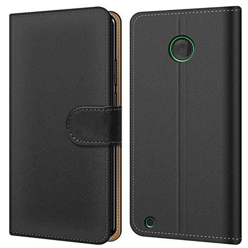 Conie BW26767 Basic Wallet Kompatibel mit Nokia Lumia 530, Booklet PU Leder Hülle Tasche mit Kartenfächer und Aufstellfunktion für Lumia 530 Case Schwarz