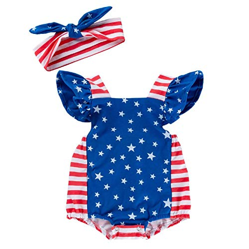 es Baby Kurzarm American Star Print Strampler Overall Outfits Set 4. Juli Baby Mädchen Kleidung Baby Mädchen Strampler ()