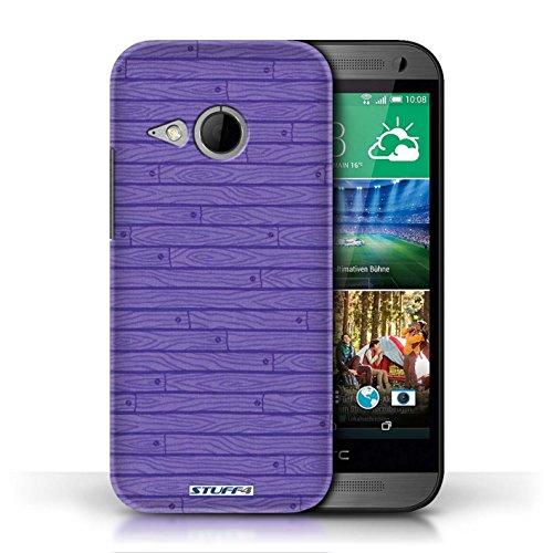 Kobalt® Imprimé Etui / Coque pour HTC One/1 Mini 2 / Turquoise conception / Série Motif Bois Pourpre