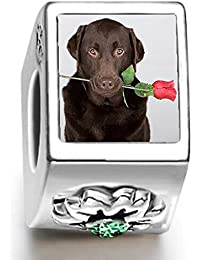 Chocolate Labrador dog with rose May birthstone photo flower charm beads