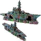 Dekoration Ornament Aquarium Schiff Krieg affondata Wrack Harz 22x 4x 10cm