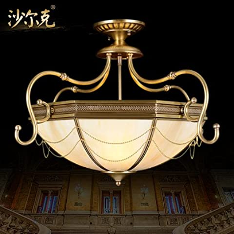 TYDXSD Techo de dormitorio europeo lámpara de cobre de lámparas de iluminación restaurante den cobre puro clásica americana de la soldadura de 670mm alto