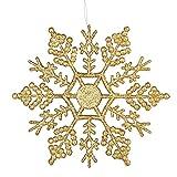 Tenrany Home 12 Pcs Glitter Fiocco di Neve Plastica Natale Fiocchi di Neve Decorativi per Albero Di Natale Natalizie Decorativi Ornamenti (Oro)
