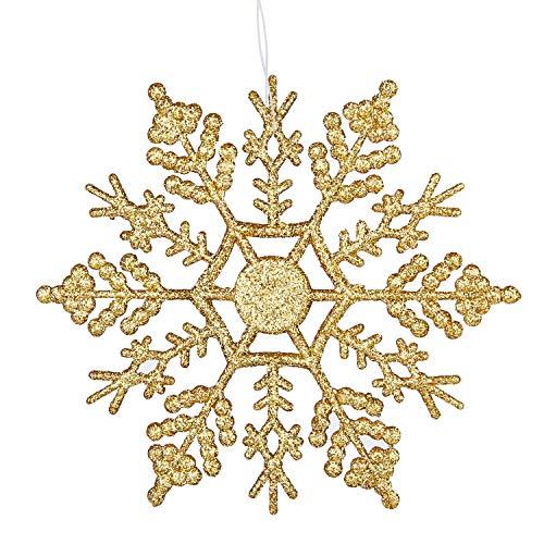 Deggodech 12pcs glitter fiocco di neve natale 10cm plastica fiocchi di neve decorativi albero di natale sospeso ornamenti decorazioni natalizie (oro)