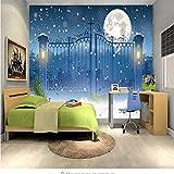 Zybnb 3D Modern Foto Camera Dei Bambini Natale Eve Luna Non Tessuto Sfondo Muro Pittore Decorazione Vivente