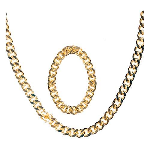 Schmuck Pimp Kostüm - NET TOYS Goldene Hip Hop Halskette mit Armband Imitat Rapper Schmuck Kostüm Zubehör Pimp Karneval Fasching