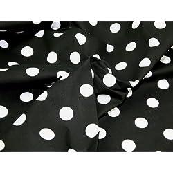 114,3 cm extra anchos para hombre lunares polialgodón tela negro/lunares blancos - por metro