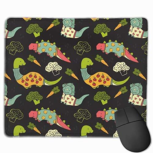 Luancrop Gaming Mouse Pad Eat Veggies Dinosaurier Kirsche Gemüse Rechteck rutschfeste Gummi-Mauspads Mousepad Matte für Computer Laptop Home Office Game Desk -