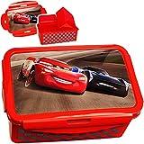 Unbekannt XL - Lunchbox / Brotdose / Bento Box -  Disney Cars / Lightning McQueen - Auto  - BPA frei - mit extra Einsatz / 3 herausnehmbare Fächer - Clipverschluß Cli..