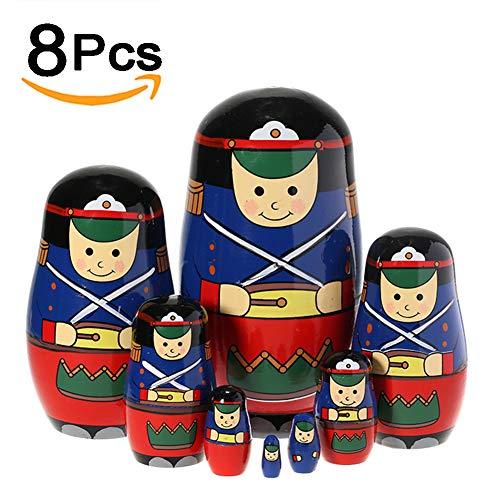 BBYaki Russischer Verschachtelungspuppe Soldat, Matreshka Handgemalte Hölzerne Home Desktop Dekoration Geschenk für Kinder,8pcs