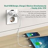 UGREEN USB Chargeur Adaptateur Secteur USB Mural Dual 2 Ports USB Chargeur Voyage 17W 5V 3,4A pour Apple iOS, Android, Appareils Portable Windows (Blanc)