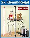 2 x WENKO Teleskop-Rundregal - inl. 6 Haken - Küchenregal rund 30 cm - Klemmregal - Teleskop Regal für Küche - Ablage für Küchenhelfer