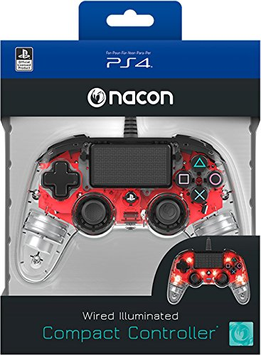 Manette luminosa rojo con cable para PS4Nacon