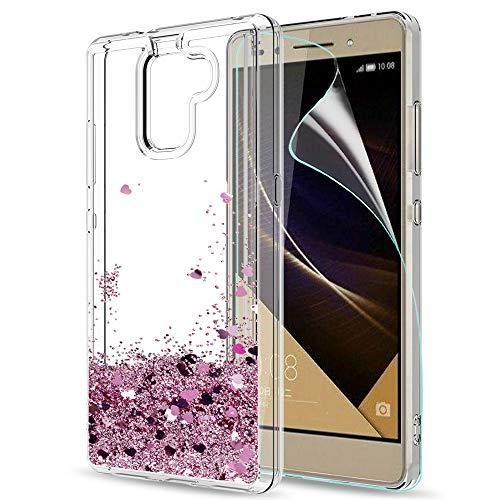 LeYi Hülle Huawei Honor 7 Glitzer Handyhülle mit HD Folie Schutzfolie,Cover TPU Bumper Silikon Flüssigkeit Treibsand Clear Schutzhülle für Case Huawei Honor 7 Handy Hüllen ZX Rot Rosegold