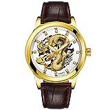 Pottoa Watch Uhren Herren,Pottoa Herren Leder Armbanduhr mit Wasserdichte Herren Quarz Uhr mit Gold Dragon Skulpture Luxus Uhr Automatik Herrenuhr Damen Armbanduhr