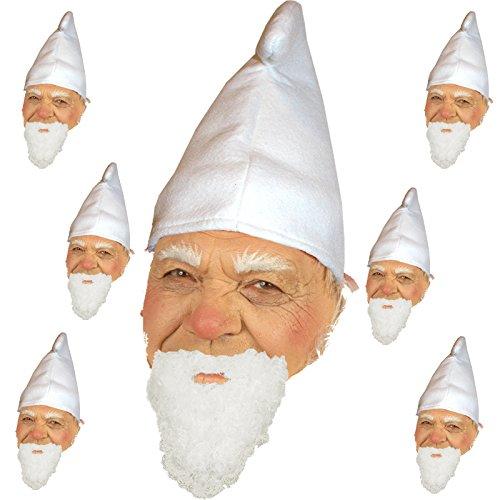 Unbekannt 7 Zwergenmützen weiß + Bart Hut für Kostüm Zwerge Gnom Märchen