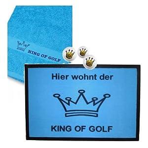 CEBEGO Golf Geschenkset KING OF GOLF -MAXI XXL,Mehrteilig by, Golfballset Golfhandtuch Fußmatte,hellblau Golfgeschenke
