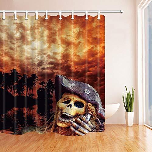 GoHEBE Halloween Decor Seaside Totenkopf Hat gegen Palm Blätter und Burning Clouds Polyester-Schimmelresistent-Vorhänge Dusche Badezimmer Duschvorhang mit Ringen 180x180cm (Palm-baum-dusche Vorhang Ringe)