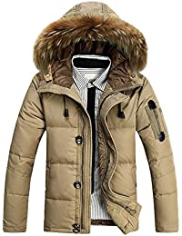 SODIAL(R) Hommes Survetement Col en Fourrure Capuche Parka Hiver Epais Manteau Duvet de Canard Doudoune Outwear Kaki M