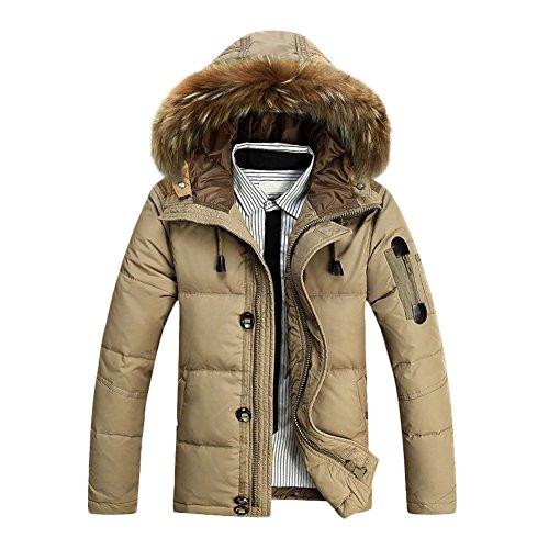 TOOGOO (R) Maenner Warmes Pelz-Kragen mit Kapuze Parka Winter Dick Ente Bekleidung Daunenjacke Khaki M