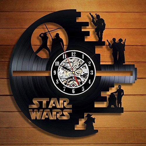 51onkjnYDjL - Meet Beauty Vinyl Star Wars Death Star diseñado Reloj de Pared LP Record -Decorate tu hogar con Moderno Grande Darth Vader Classic Vintage Art 30CM Círculo Negro